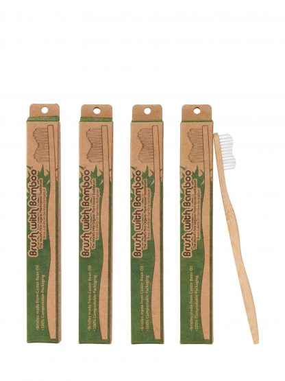 4 pack of bamboo toothbrushes by Brush with Bamboo