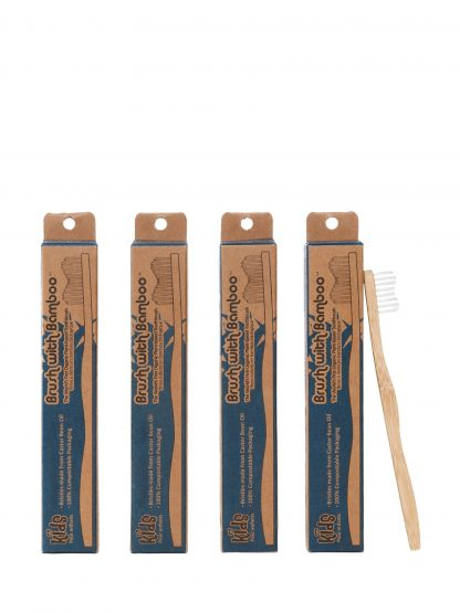 kids 4 pack of bamboo toothbrushes by Brush with Bamboo