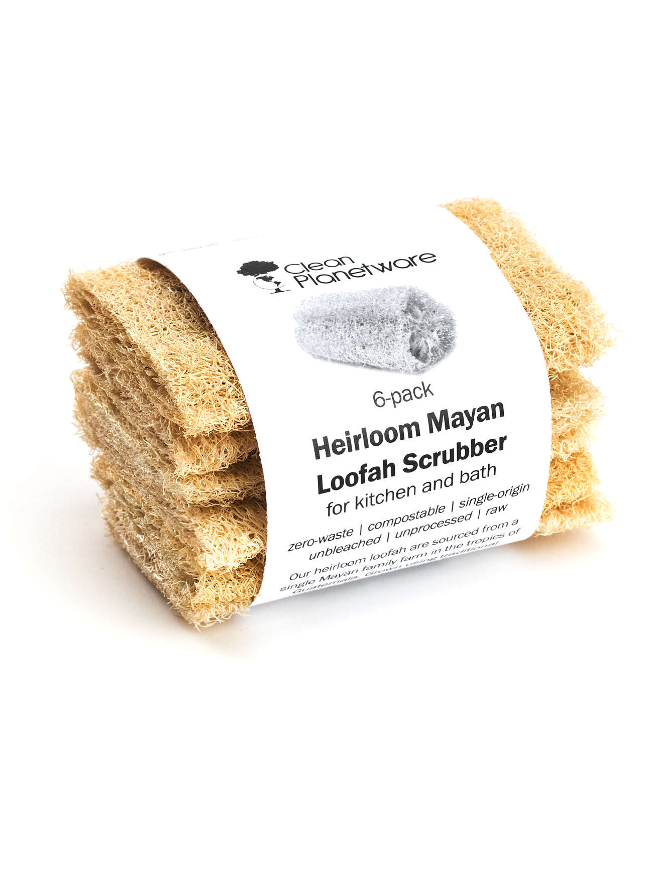 Heirloom Mayan Loofah Scrubbers 6 Pack Brush With Bamboo